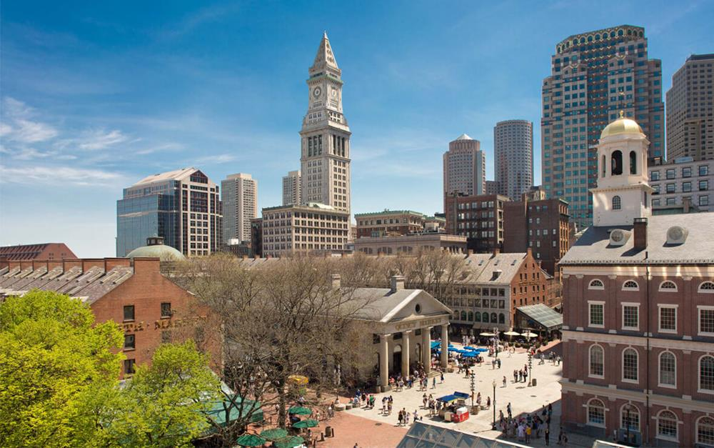 View of Boston city with Faneuil Hall Marketplace near Bostonian Boston Hotel